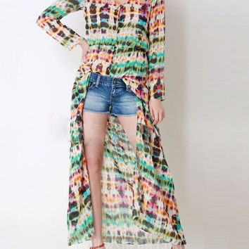 Tie-dyed Print Long Sleeve Cardigan Chiffon Maxi Dress