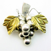 Sterling Grapes Cluster Brooch Pendant Mexico Bold Chunky