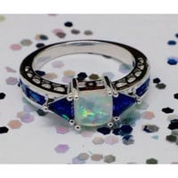 Created White Fire Lab Created Opal Promise Ring
