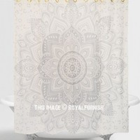 White  Silver Passion Mandala Shower Curtain on RoyalFurnish.com