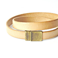 Camel light brown color leather bracelet double wrapped with magnetic clasp brass color