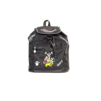 DISNEY backpack / drawstring bucket bag / y2k millennium / mickey goofy pluto donald / minimal / california adventure / black vinyl / kawaii
