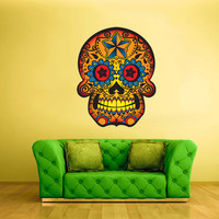 Color Wall Decal Mural Sticker Beautyfull Cute Sugar Skull Bedroom Curly modern fashion (col11)