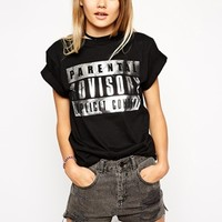 ASOS T-shirt with Parental Advisory in Foil Print