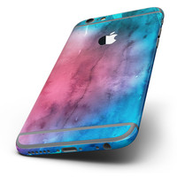 The Vivid Pink 869 Absorbed Watercolor Texture Six-Piece Skin Kit for the iPhone 6/6s or 6/6s Plus