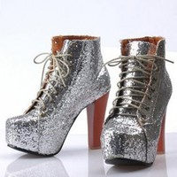 Wholesale Shining Thick Sole Sliver Pumps : Wholesaleclothing4u.com