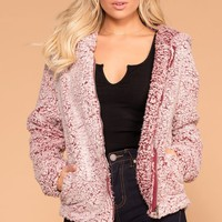 Chilled Out Wine Sherpa Zip-Up Hoodie Jacket