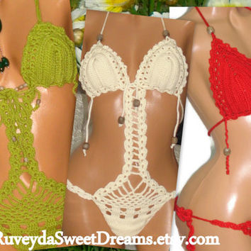Sexy Crochet Monokini Swimsuit Neon Red Green Beige İvory Monokini One Pieces Beach Fashion Women