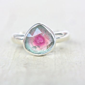 Watermelon Tourmaline Ring Sterling Silver Natural Rose Cut Tourmaline Engagement Gemstone Engagement Ring Size 7,75-8,75 Silversmith