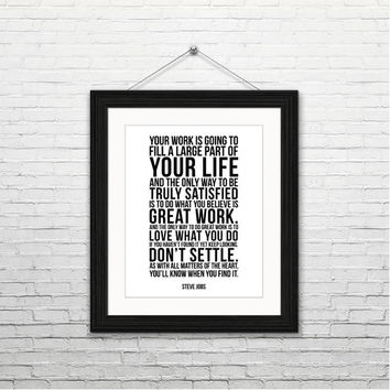 Great work - Steve Jobs, 8x10 digital download, typography print, motivational quotes, inspirational, instant download, printable wall art