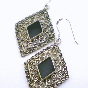 Art Deco Earrings  Sterling Silver Vintage Filigree Geometrical Onyx Marcasite Pierced Dangle