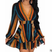 2019 new tide brand female V-neck sexy women's digital print striped ruffle dress