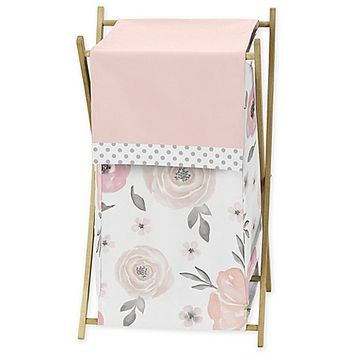 Sweet Jojo Designs Watercolor Floral Laundry Hamper in Pink/Grey