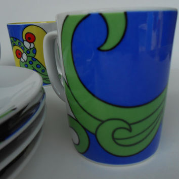 Mod Fitz and Floyd Variations Parrot Set of 4 Porcelain Plates and 4 Mugs 1979 Mint Condition