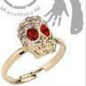 Red Eye Gem Skull Mid Ring
