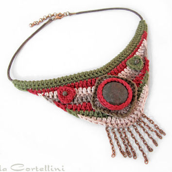 Ethnic tribal necklace,fringe necklace,native american necklace,crochet necklace,native american fiber necklace