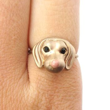 3D Dachshund Puppy Face Shaped Animal Ring in Size 6 | Gifts for Dog Lovers