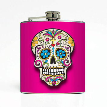 Sugar Skull Day of the Dead Designer 6 Oz Liquor Stainless Steel Hip Flask Weddings Groomsmen Bridesmaids Gift Whiskey Flask
