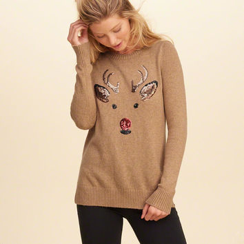 Sequin Graphic Pullover Sweater