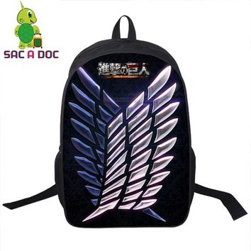 Cool Attack on Titan Women Men Anime  Backpack Travel Laptop Backpack Teens Kids Boys Girls Eren Mikasa Levi Armin Printing School Bag AT_90_11