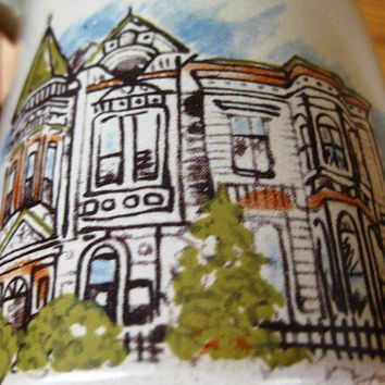 Vintage Signed Tall  Stoneware Victorian House Mug GREAT
