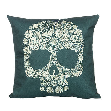 "18"" x 18"" Cotton Linen Square Throw Pillow Case Cushion Cover Skull Pattern  P1005"