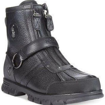 ONETOW Polo Ralph Lauren Conquest High Duck Boots Black color Mens Boot