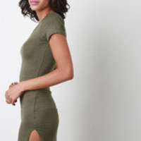 Women's Side Slit Shirt Dress