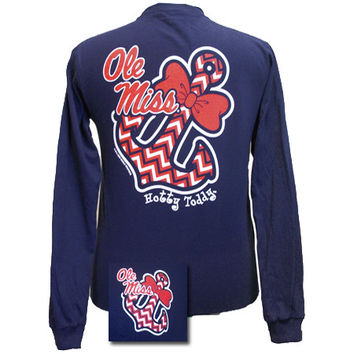 Mississippi Ole Miss Chevron Anchor Bow Girlie Bright Long Sleeves T Shirt