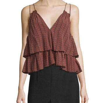 Apiece Apart Sandro Ripple-Print Tiered Slip Top, Multi Colors
