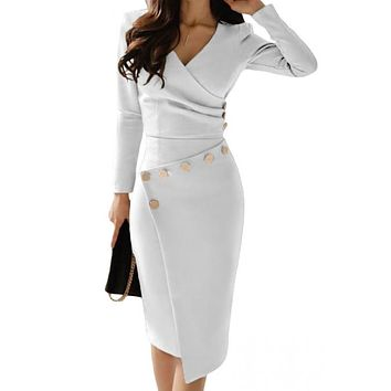 Chic Asymmetric Button Detail White Ruched Midi Dress