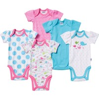 Jockey 5-pk. Polka-Dot Bird Bodysuits - Baby Girl, Size: