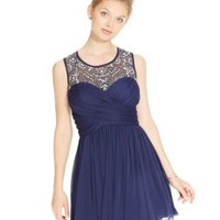 B Darlin Juniors' Jeweled Illusion Chiffon Party Dress | macys.com