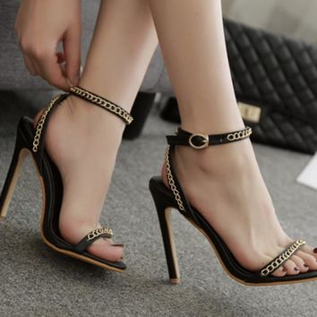 Metal Chain Stiletto Heel Open-toe Ankle Strap High Heel Simple Sandals