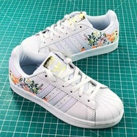 Adidas Superstar Shell Head White With Flower Print Shoes - Best Online Sale
