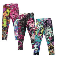 Girls Monster High Leggings Zombie Girl Cartoon Legging Pants Clothing