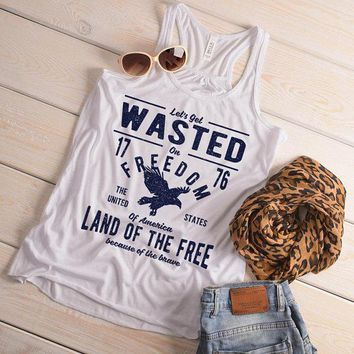Women's Wasted On Freedom Tank 4th July Independence Day Vintage Shirts Graphic Tee Eagle Top