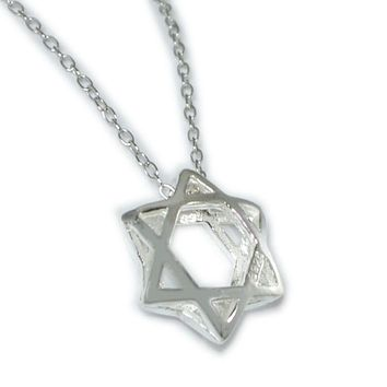 Sterling Silver 3-D Jewish Star Necklace