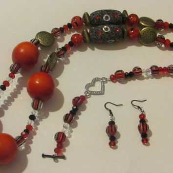 Red Chunky Bubble Bib Necklace, Bracelet and Earrings optional