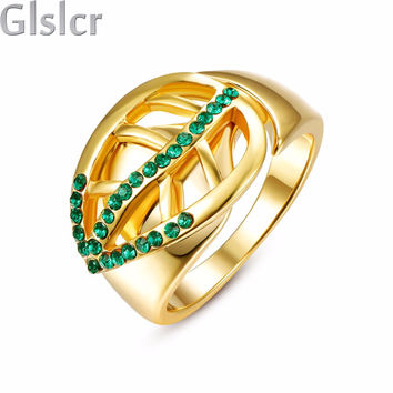classic luxury spring leaves clover wedding party promise rings for women girl Gold Plated lover finger ring fashion design R361