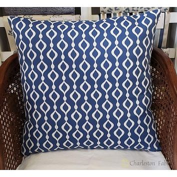 Sunbrella Blue White Pillows Diamond Twist Cover only 18x18