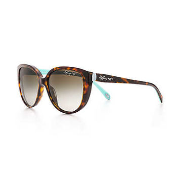 Tiffany & Co. - Tiffany 1837™ cat eye sunglasses in tortoise and Tiffany Blue acetate.