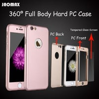 Luxury Rose Gold Shockproof 360 Deagree Full Body Hard PC Case For iPhone 6 6S 7 Phone Capa With Tempered Glass Screen Protector