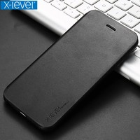 X-Level FIBCOLOR Flip Phone Case For Iphone 7 8 6Plus 5s PU Leather Kickstand Cases Cover For Iphone 6S 7 5S SE Protective Shell