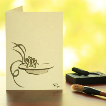 Floating water-lily ikebana arrangement sumi e style painting blank card