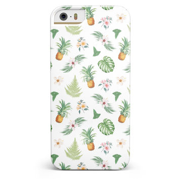The Tropical Pineapple and Floral Pattern iPhone 5/5s or SE INK-Fuzed Case