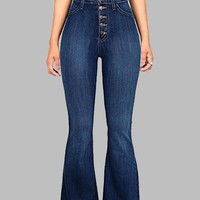Dark Blue Buttons Pockets Vintage Bell-bottoms High Waisted Casual Long Jeans