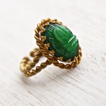 Antique Scarab Ring - Vintage Green Glass Brass Braided Band 1940s Adjustable Germany Costume Jewelry / Dark Green Beetle