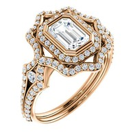 1.0 Ct Emerald Ring 14k Rose Gold