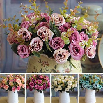 Wedding Bridal European Artificial Rose Leaf Flowers Bouquet Party Decal